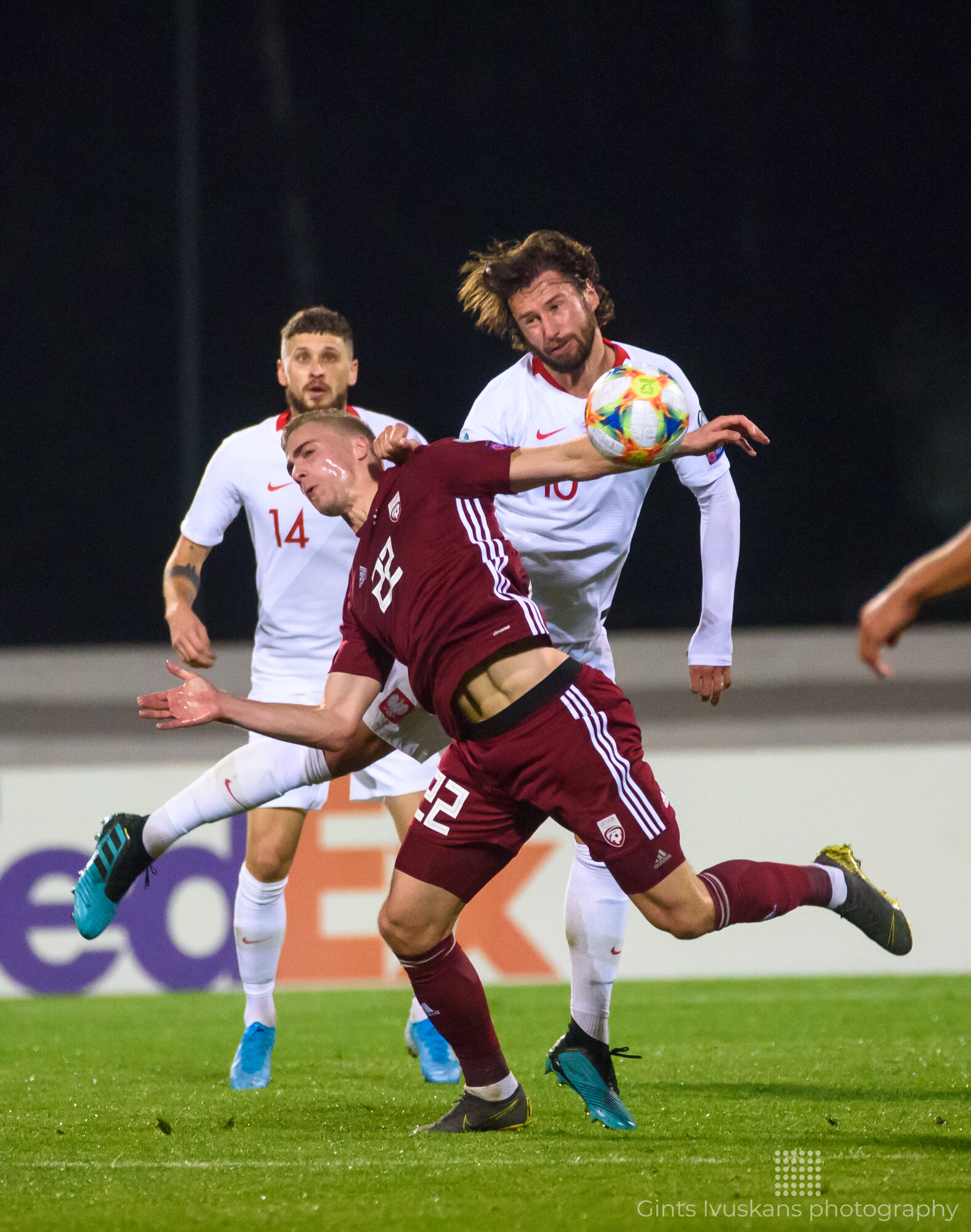 RIGA, LATVIA. 10th October, 2019. UEFA EURO 2020 Qualification game between national football team of Latvia and team Poland.
