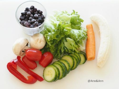 500g kasviksia, hedelmiä ja marjoja