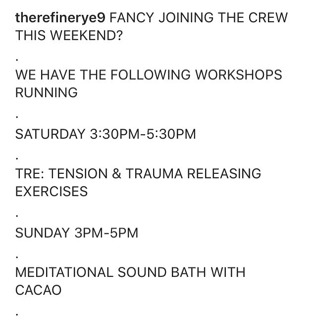 On the line up this weekend at the Refinery E9 - MEEEEE doing a TRE workshop! Come and see what all the fuss is about, tomorrow 3.30-5.30pm 🤗 @therefinerye9