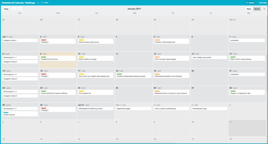 Redaktionell kalender i Trello kalendervy månad