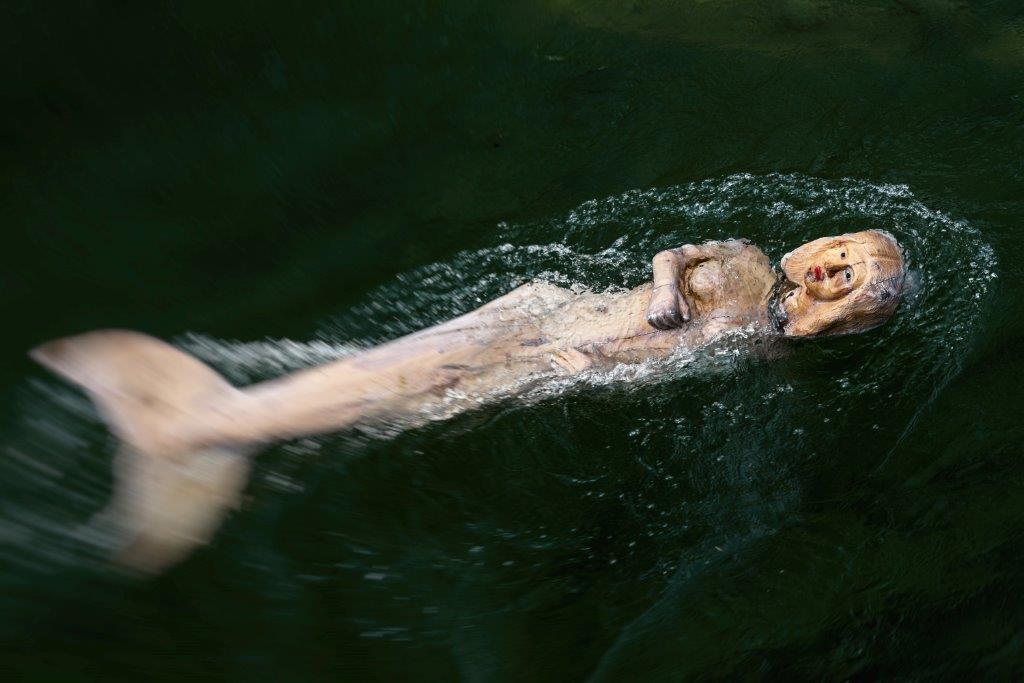 Seit Juli schwimmt die schnell zur Attraktion avancierte Ampernixe unterhalb des Wehres im Wasser - festgezurrt an einem 80 Kilogramm schweren Anker. Nur einmal entfloh sie: Das Stahlseil erlitt wegen des Hin- und Hergewackeles einen Ermüdungsbruch. Zum Glück wurde sie von Badenden stromabwärts eingefangen und an dicke Eisenketten gelegt.