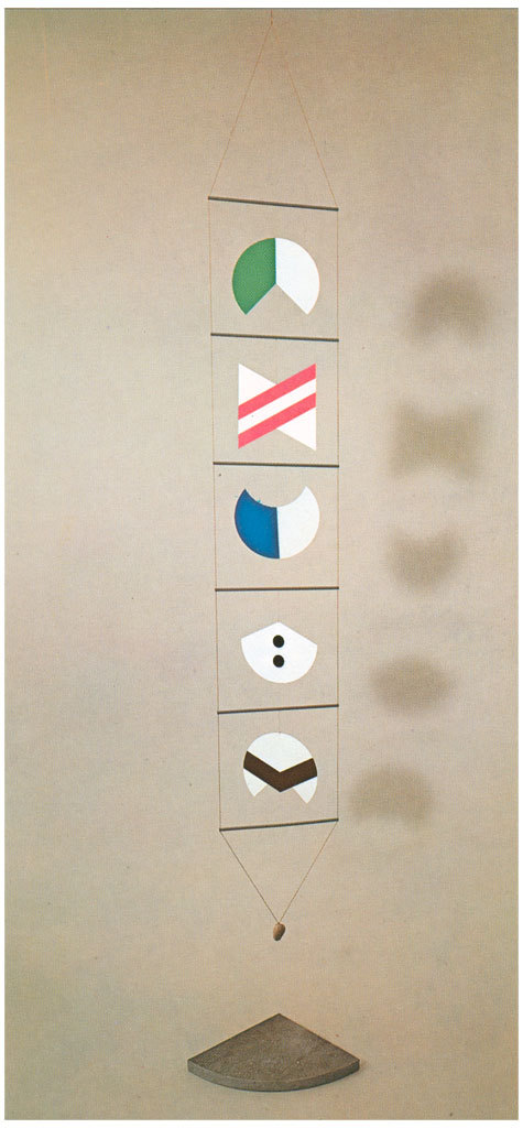 """Bruno Munari   1934/83 - """"USELESS MACHINE 1"""" - IN MULTIPLE PLYWOOD BIRCH PAINTED AND PRINTED, ROPE, AND STONE WITH POSSIBLE BASE STONE SERENA - SIZE CM. 31 X 253 H - 99 EDITION NUMBERED COPIES AND HAND SIGNED BY THE AUTHOR - PLURAEDIZIONI MILAN   CLOSE"""