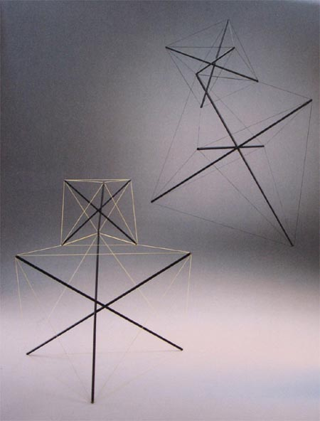 """Bruno Munari   1990 - """"TENSILE STRUCTURE"""" - MULTIPLE IN PAINTED METAL + BLACK COLORED ROPE YELLOW / BLACK - CM.  68 X 75 X 61 - EDITION 100 NUMBERED COPIES AND SIGNED HAND DALL'AUTORE- PLURAEDIZIONI MILAN"""