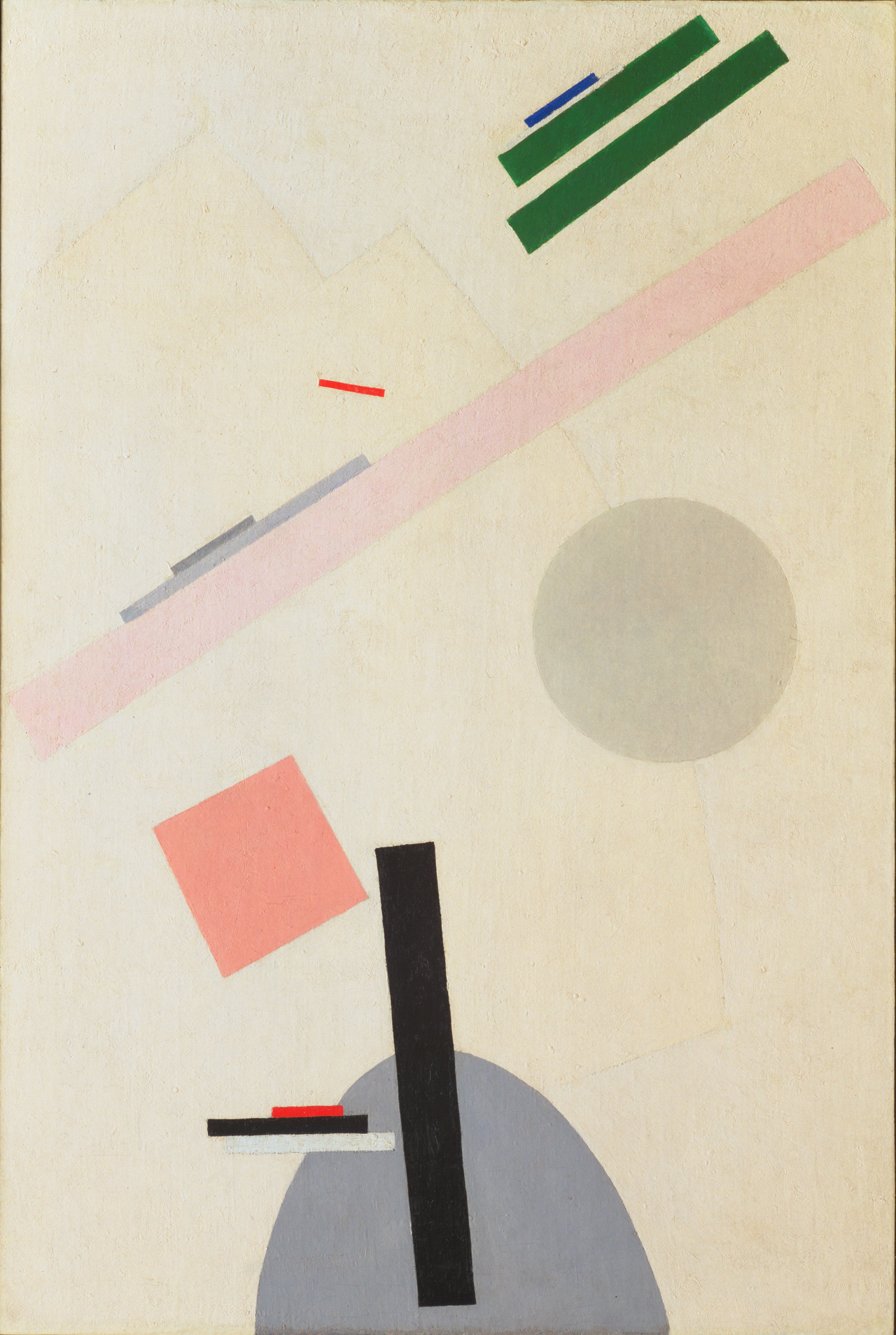 """moma :    Kazimir Malevich , born today in 1878, was one of the pioneers of abstract art. In December 1915, Malevich unveiled a radically new mode of abstract painting that abandoned all reference to the outside world in favor of colored geometric shapes floating against white backgrounds. Because his new style claimed supremacy over the forms of nature, he called it """"Suprematism.""""  [Kazimir Malevich.   Suprematist Painting  . 1916-17]"""