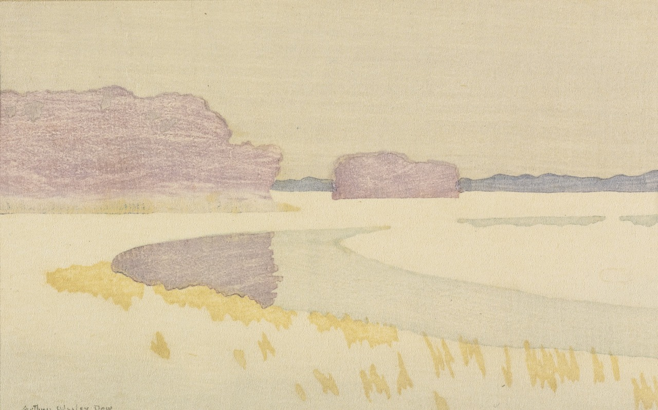 conversationswiththelight :     Arthur Wesley Dow (USA 1857-1922)  Bend of a River (Sunset)  c. 1898 woodcut printed in colors, on simili-Japan 112 by 180 mm