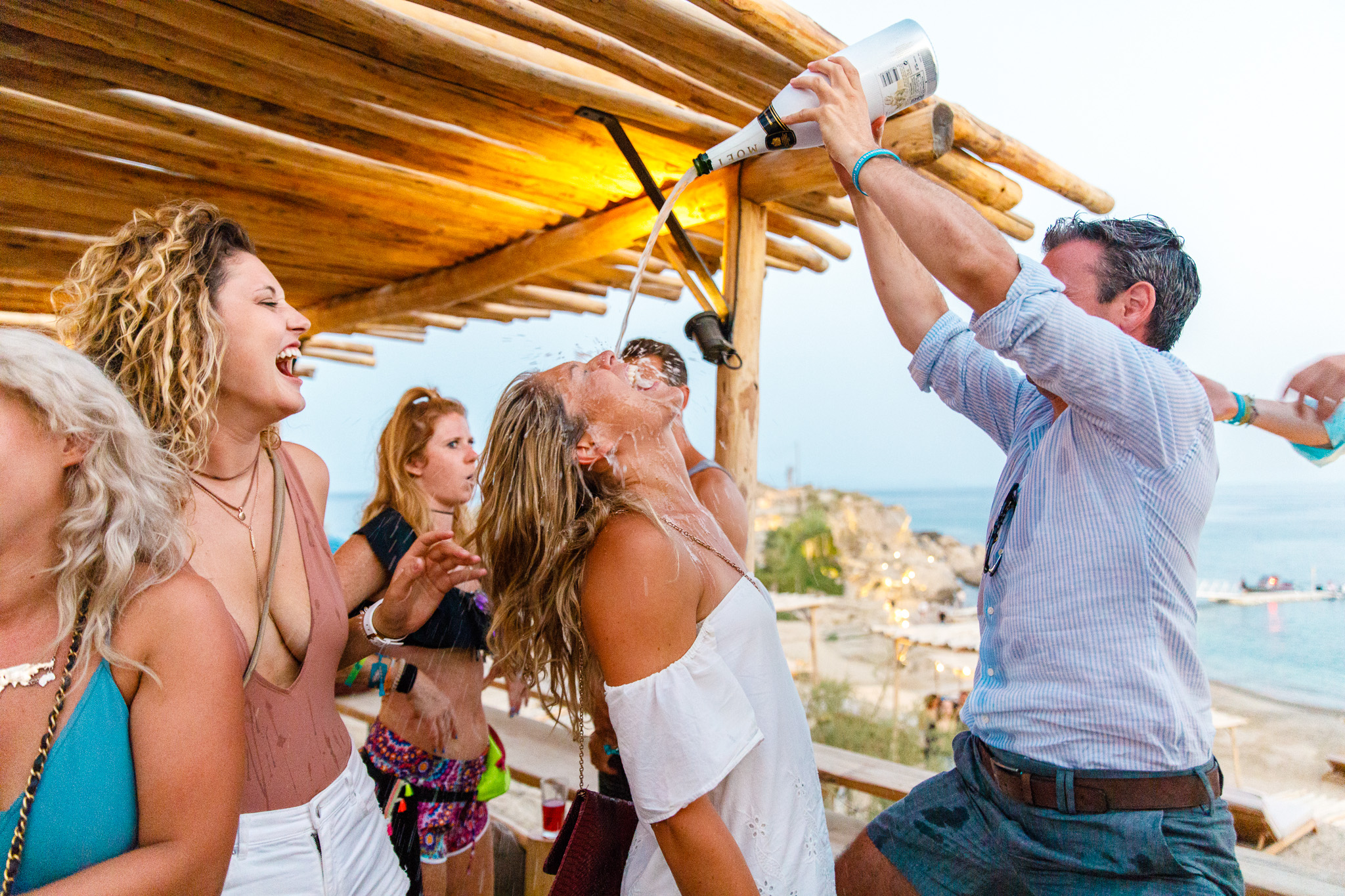 Taking champagne showers literally - The Mykonos Route