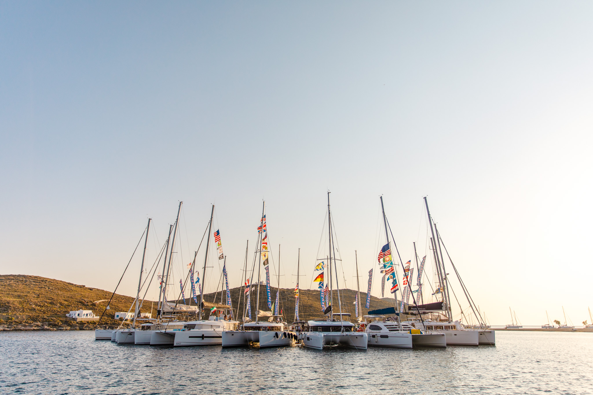 The sun sets over our circle raft - The Mykonos Route