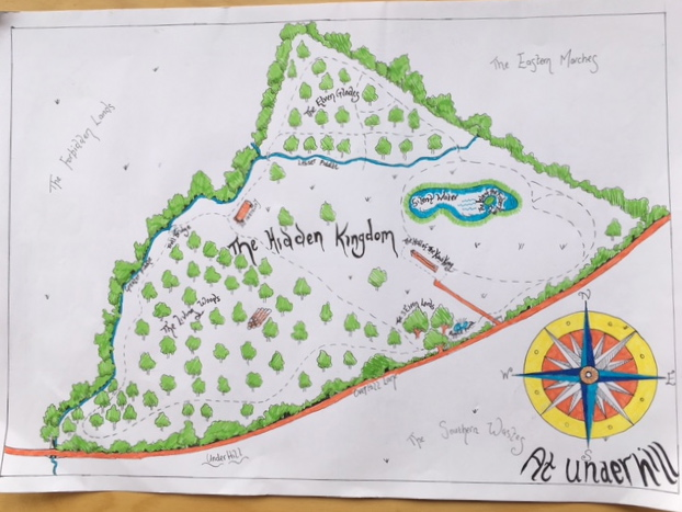 Sarah's map of UWNR - great names; Hidden Kingdom, The Hall of the Kiwi King, The Living Woods, Silent Woods, The Southern Wastes, The Hall of the Kiwi King.....