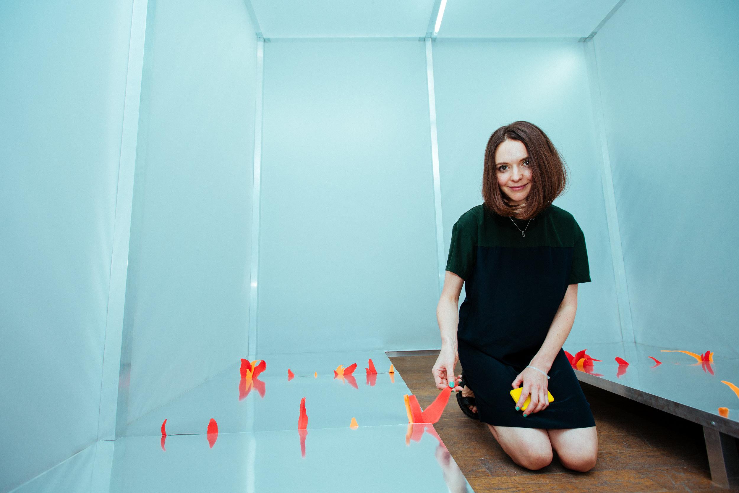 ….  Svetlana Shuvaeva with a part of the installation  ..  Светлана Шуваева с фрагментом инсталляции  ….