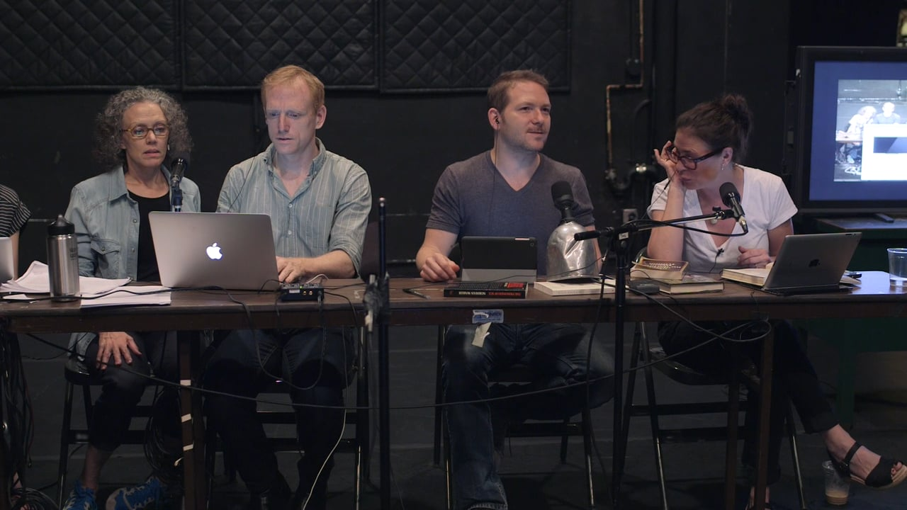 Ari Fliakos (second from the right) rehearsing for The Town Hall Affair
