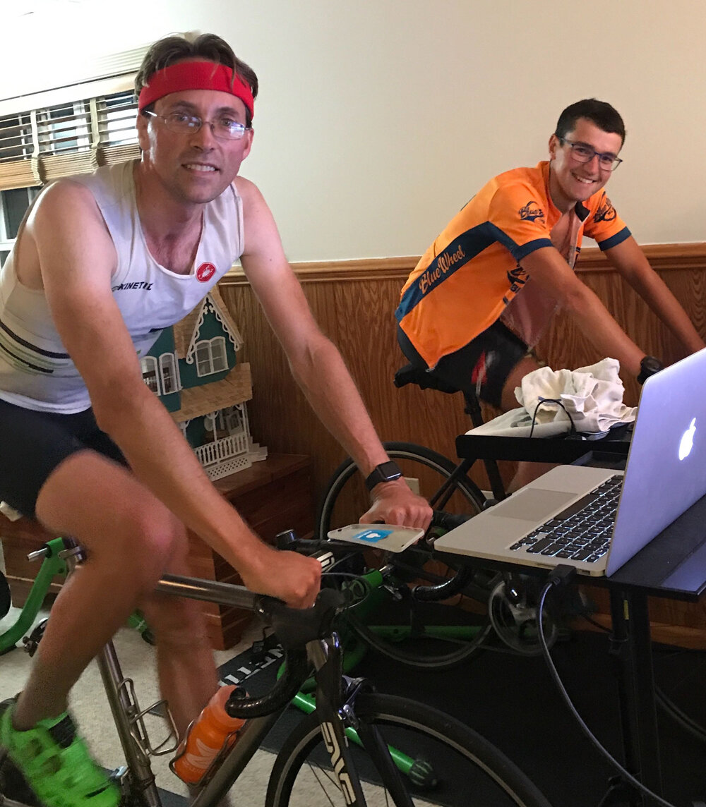 Kinetic Ambassador, Duane Gran (left), leads Matteo Ottolini through the paces with Zwift and the Rock and Roll | Control interactive trainer.