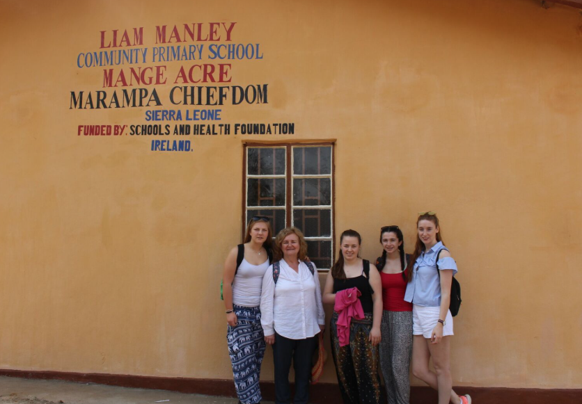 Roisin, Ber, Leah, Sarah and Edwina at the newly opened Liam Manley school in Mange Acre, Feb 20th 2017