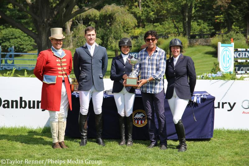 M. Michael Meller presenting Heather Caristo-Williams with the M. Michael Meller Style Award at the American Gold Cup