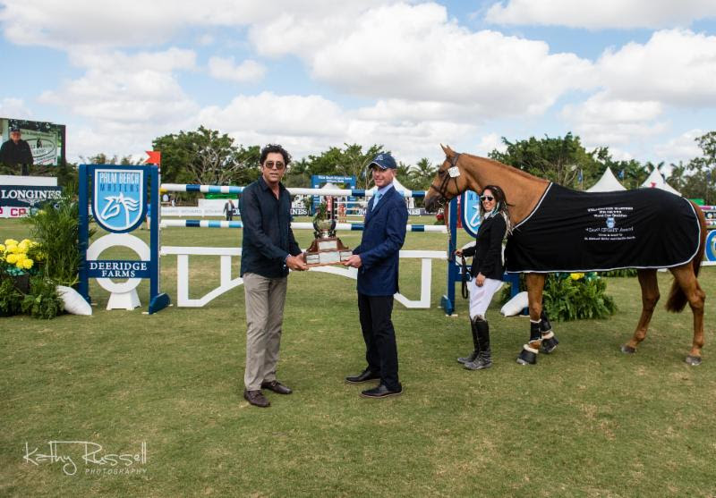 "Michael Meller (left) and Charlie Jacobs (right) presented the ""Doc"" Spirit Award to Lizziemary, owned by The Golden Group and Danielle Goldstein, at the Palm Beach Masters. Photo:  Kathy Russell Photography"