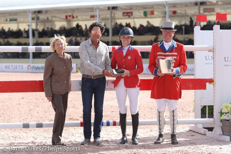 Michael Meller (second from left) presents Lillie Keenan with the M. Michael Meller Style of Riding Award at the Winter Equestrian Festival (WEF).