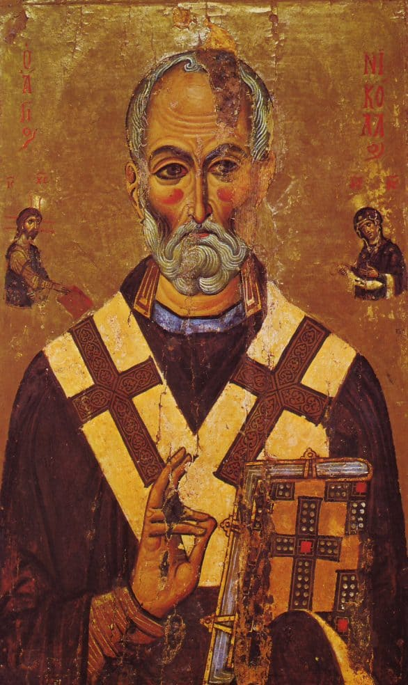 """- """"Nicholas was born in the 3rd century in Asia Minor. He used his entire inheritance to help the poor, sick, and children in need. He gave in secret, expecting nothing in return. He attended the Council of Nicea in AD 325. Greatly loved for his faith, compassion, and care, he is venerated in both East and West."""""""