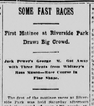 June 1, 1909 article about Riverside Park in the  Burlington Free Press  (www.chroniclingamerica.com)