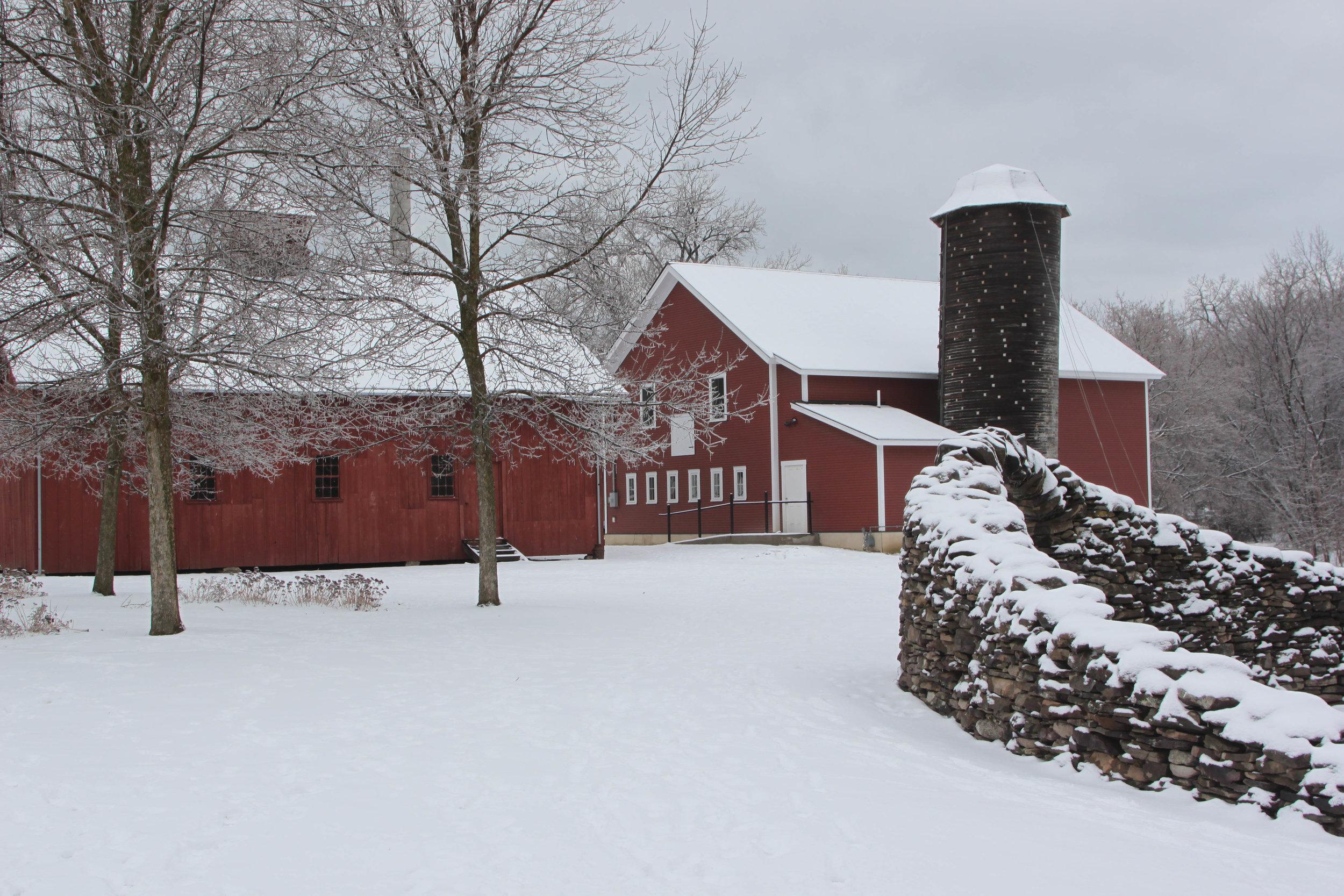 Community barn (right) New Dairy Barn (Left)