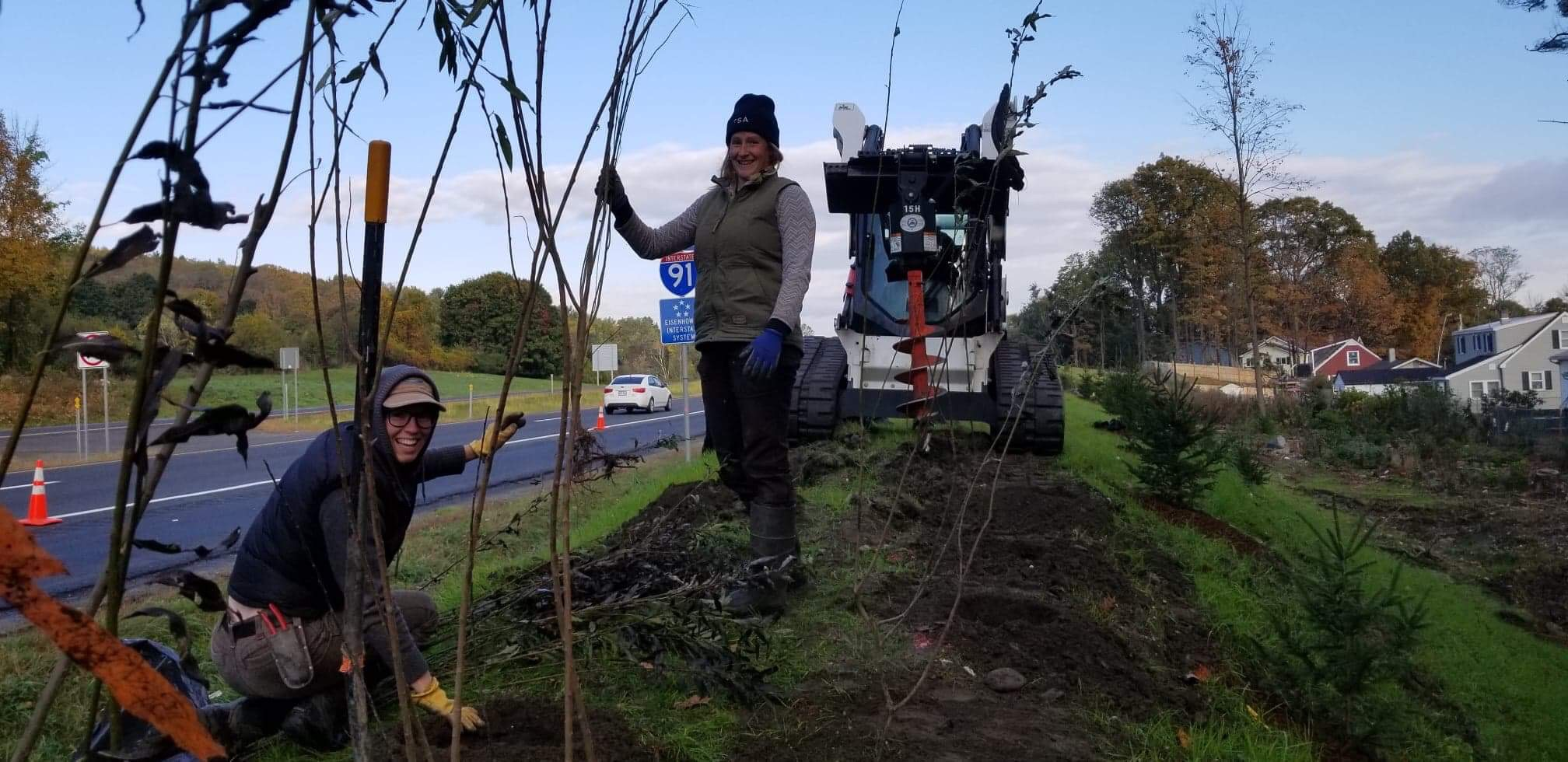 Our crew planted over 200 shrubs on a berm off the side of I-91 in Brattleboro with VTrans as a protective screen for a neighborhood.