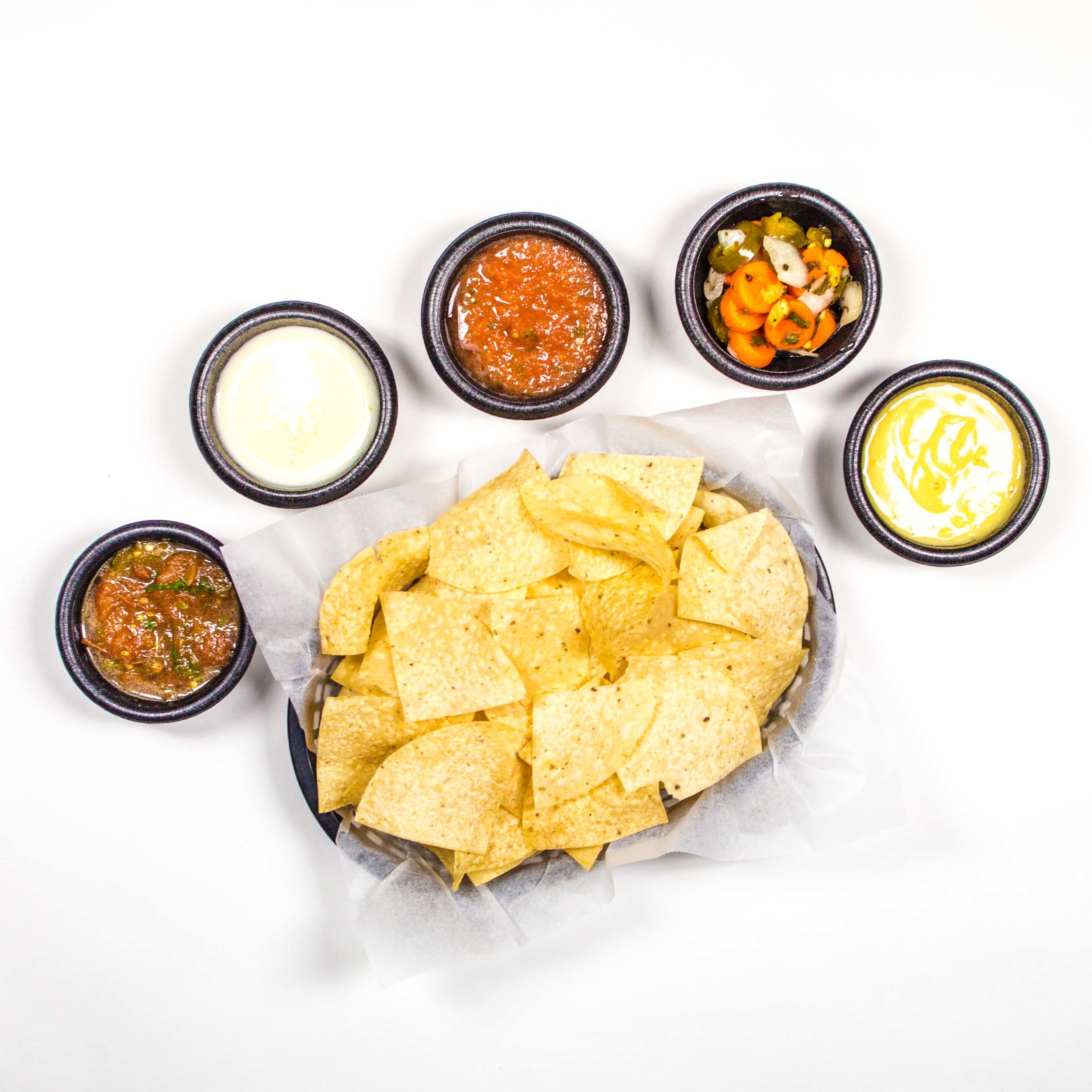 Chips & Salsa, Queso, Relish, Hot Salsa