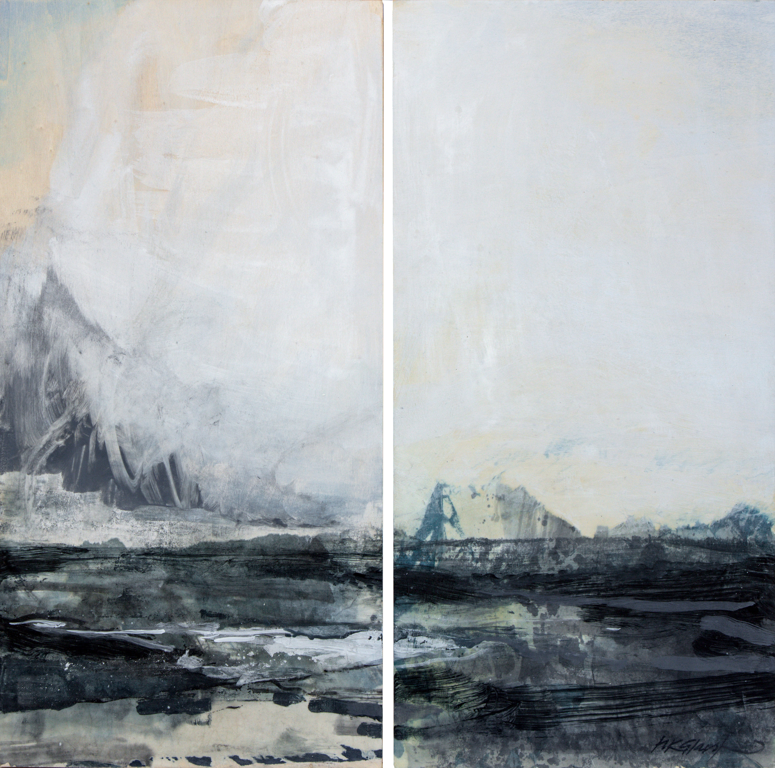 Forbidden • Diptych •Oil and Encaustic on Board • 51x51cm • Sold