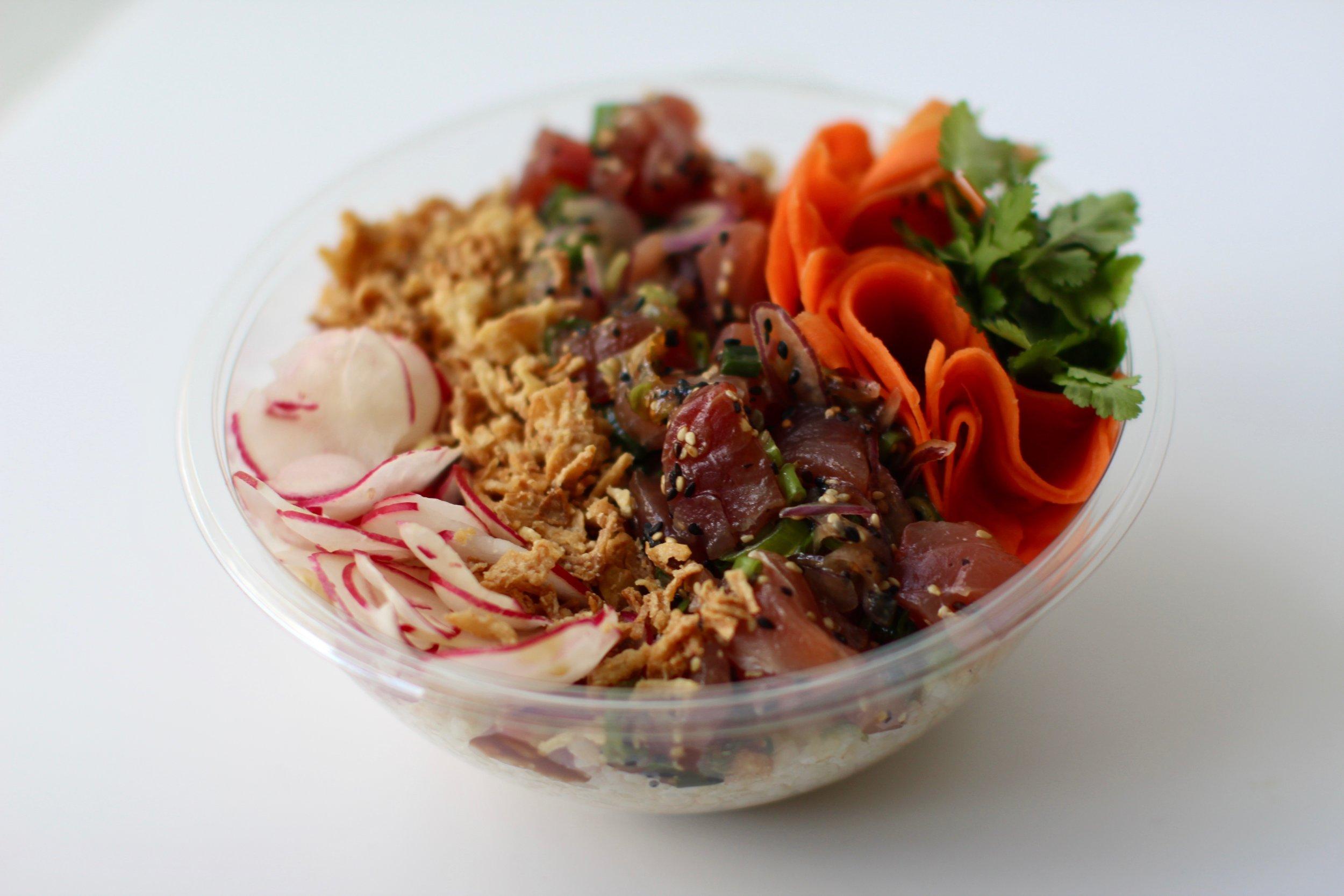 Oahu - Brown Rice, Ahi Tuna, Red Onion, Fried Onion, Raddish, Carrot, CorianderSesame Shoyu (GF,DF)