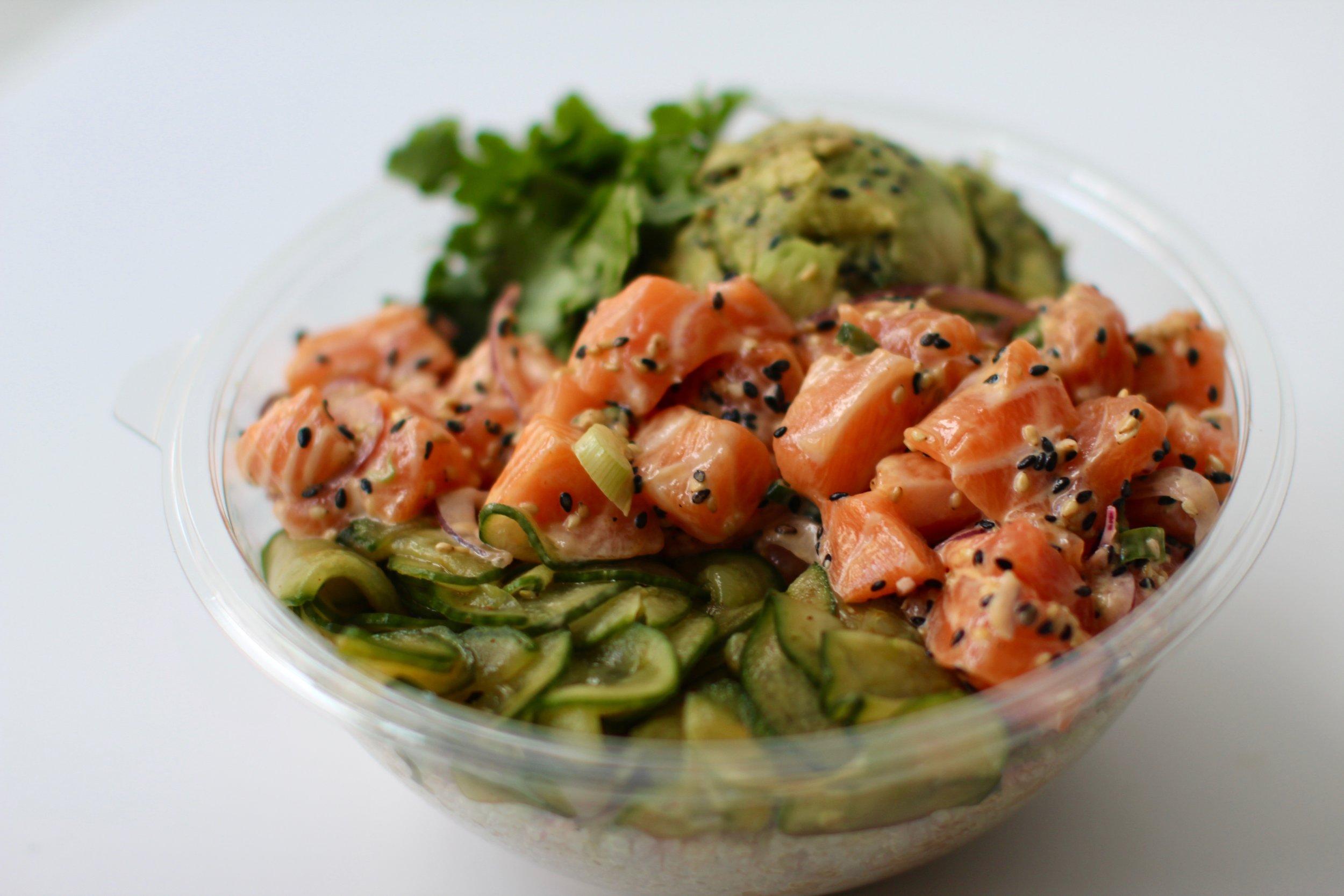 Heat Wave - Quinoa, Salmon, Smashed Yuzu Avocado, Red Onion, Kimchee Cucumber, CorianderSriracha Mayo (GF,DF)