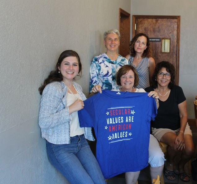 From left: Sarah Levin of the Secular Coalition for America, and Humanists of Minnesota members Audrey Kingstrom, Suzanne Perry, Marcy Woodruff, and Meline Juarez. Missing: Harlan Garbell.