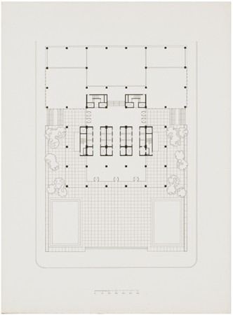 The Seagram Building ground level plan drawing, Mies van der Rohe, 1958.