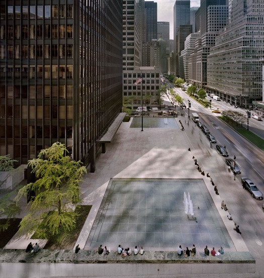 The Seagram building plaza panorama, looking south from the first setback of 399 Park Avenue, 2010. [Photo © Richard Pare, courtesy of the Canadian Centre for Architecture, Montreal]