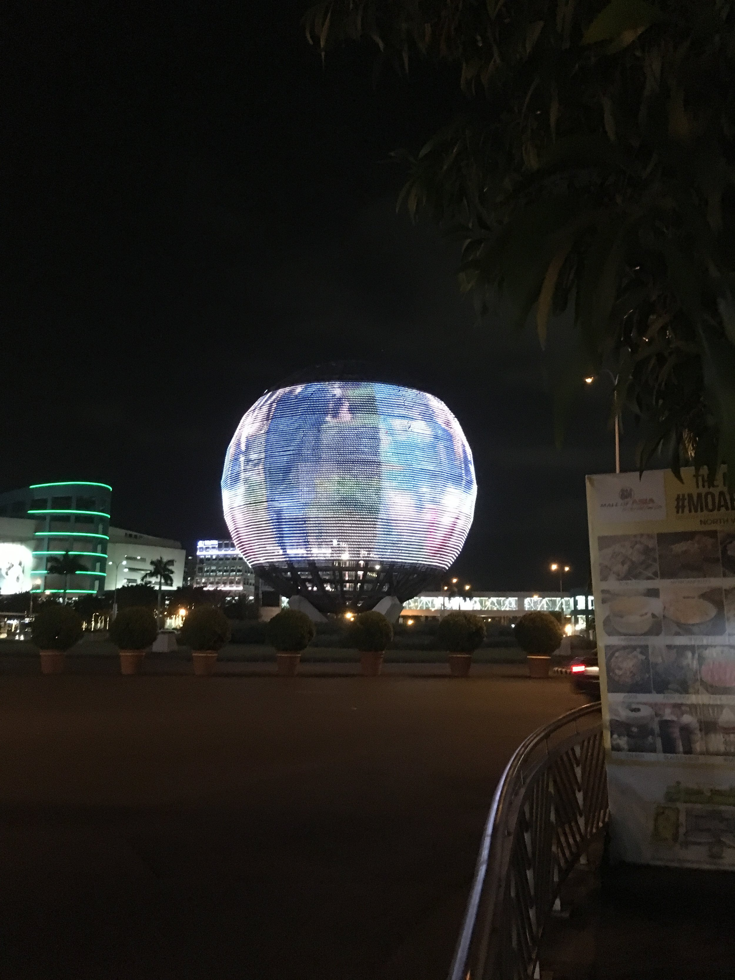 Globe at the mall that changes colors