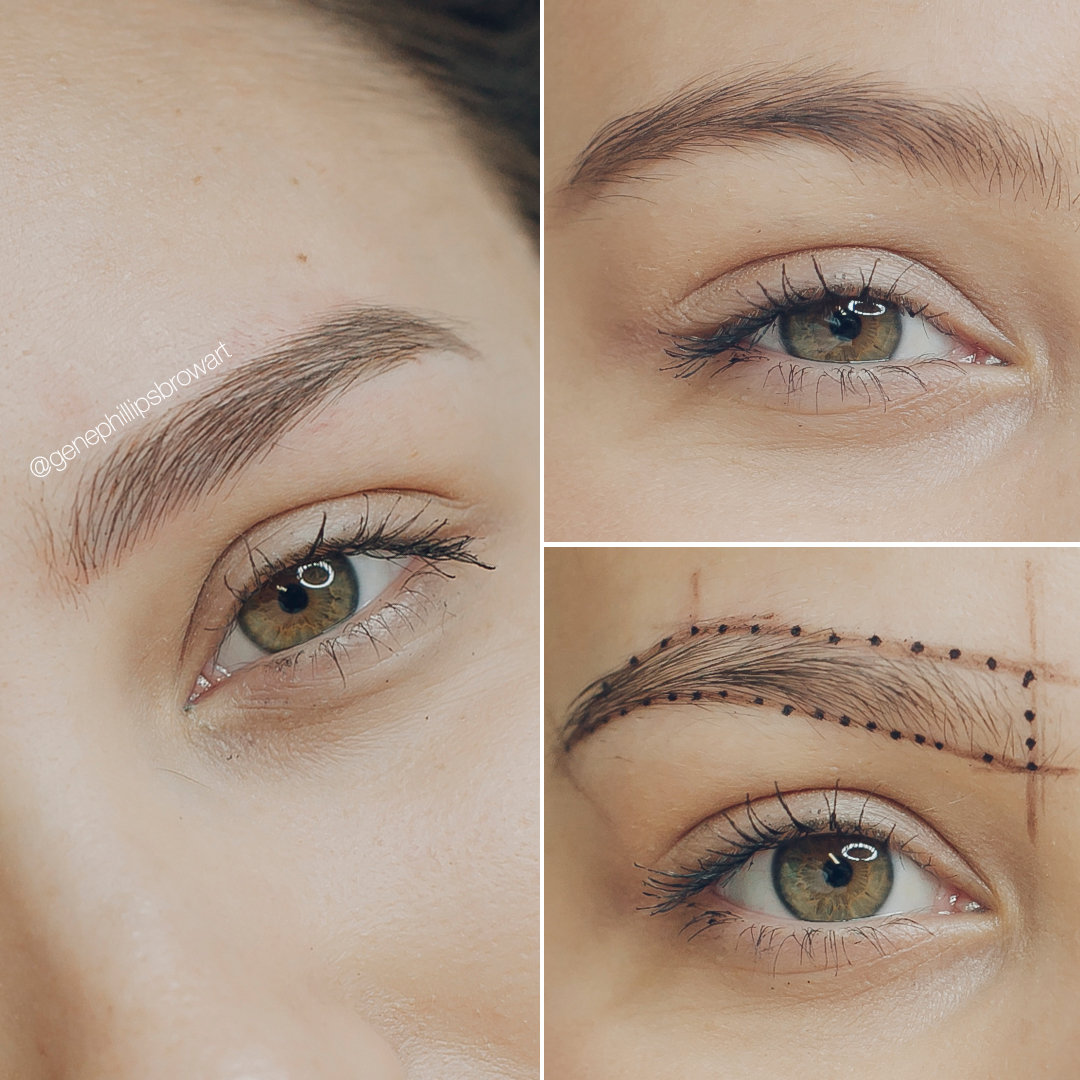 Top right- my eyebrows that I had filled in before microblading   Bottom right- during the process when Gene makes an outline   Left- after!