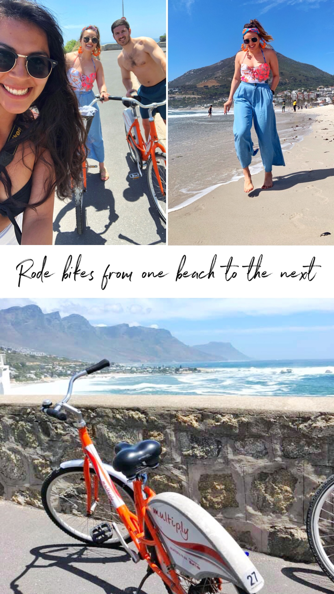 Bike Riding Along the Seawall - I absolutely love riding bikes when we're on vacation, since we normally like to walk everywhere this is an alternative that gives my feet a break! Riding along the beaches while getting a tan, feeling that wind in your face and smelling the salt from the sea was wonderful.We ate at the Codfather in Camps Bay and the seafood was so fresh and so so good! The sushi was almost just as good as in Japan! Highly recommend!