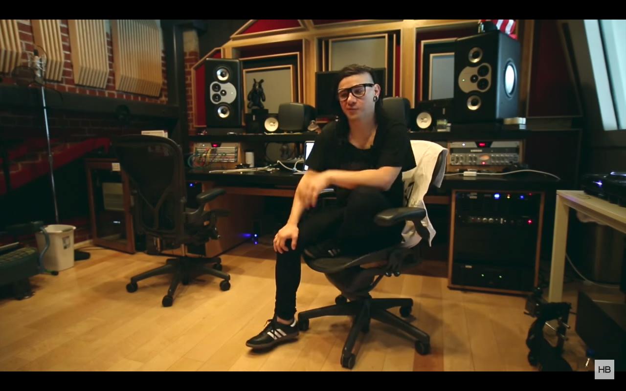 Skrillex in his home studio