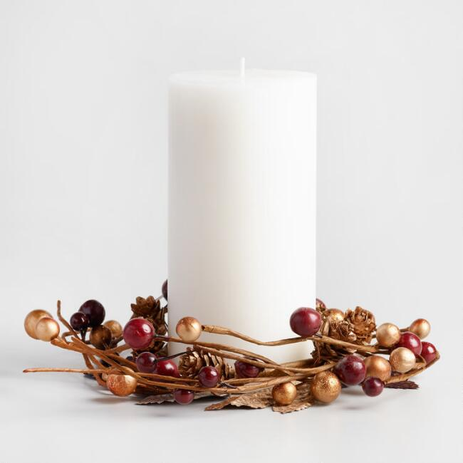 Metallic Berry Candle Ring - This lovely metalic ring brings a sublte but gorgeous flair to your Thanksgiving decor.WorldMarket