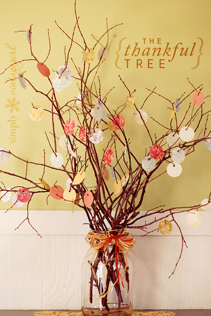 Thankful Tree - Bring a bit of nature inside the home. The thankful tree is a cute and simple way to give your house a fall feel in any corner of your homeSimply Vintage Girl