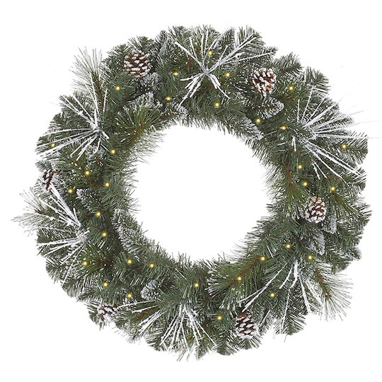 Pre-Lit Flocked & Glittered Mixed Pine Artificial Christmas Wreath - Add a subtle flare to your home with this wintery wreath with clear lights built in.MIchael's