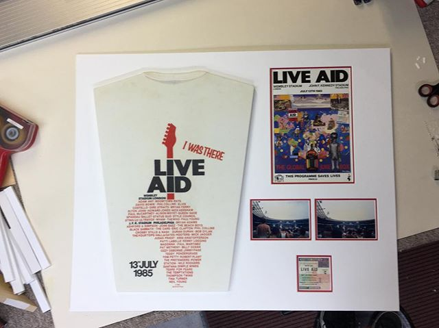 On the bench today! What a line up. #liveaid #framed #pictureframes #picoftheday #shirt #1985 #customframe #custommount