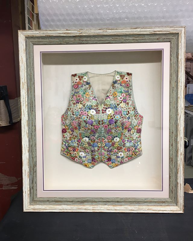#justfinished - A handmade waistcoat, very delicately stitched by our customer Mrs Jones. This is now making its way to the V&A Museum in London. #handmade #vandamuseum #V&A #waistcoat #customframing #pictureframe #pictureday #picoftheday #instapic #stitches #stitching #embroidery #framed #interiordesign #museum