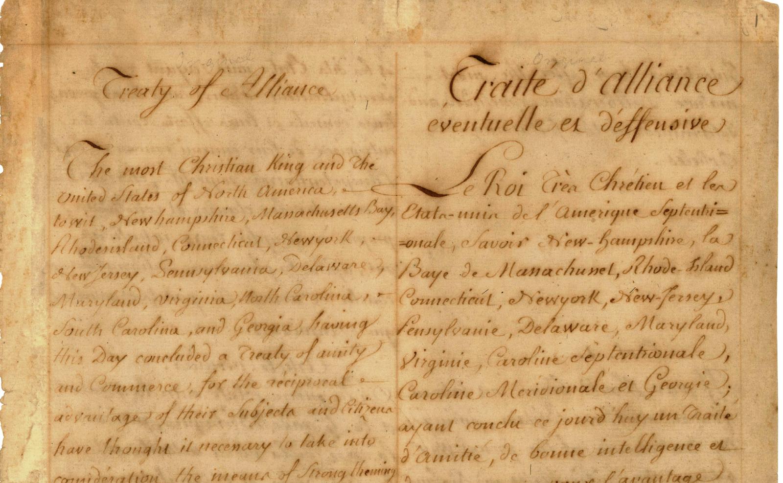 Treaty of amity and commerce treaty of alliance