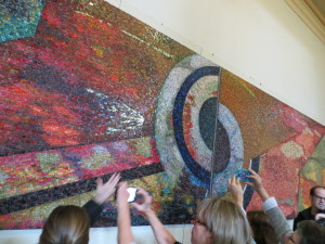 This mosaic was saved destruction in the Loews Hotel 2014 renovation and relocated to  the Philadelphia School for the Creative and Performing Arts.