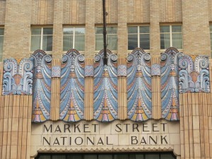 Example of art deco polychrome terra cotta decoration. They don't decorate buildings like they used to!