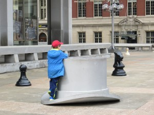 Giant game piece sculptures in downtown Philly. Fun Monopoly game pieces!