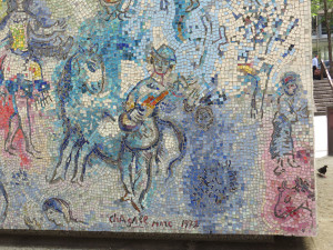 """Detail of the Marc Chagall """"Four Seasons"""" mosaic."""