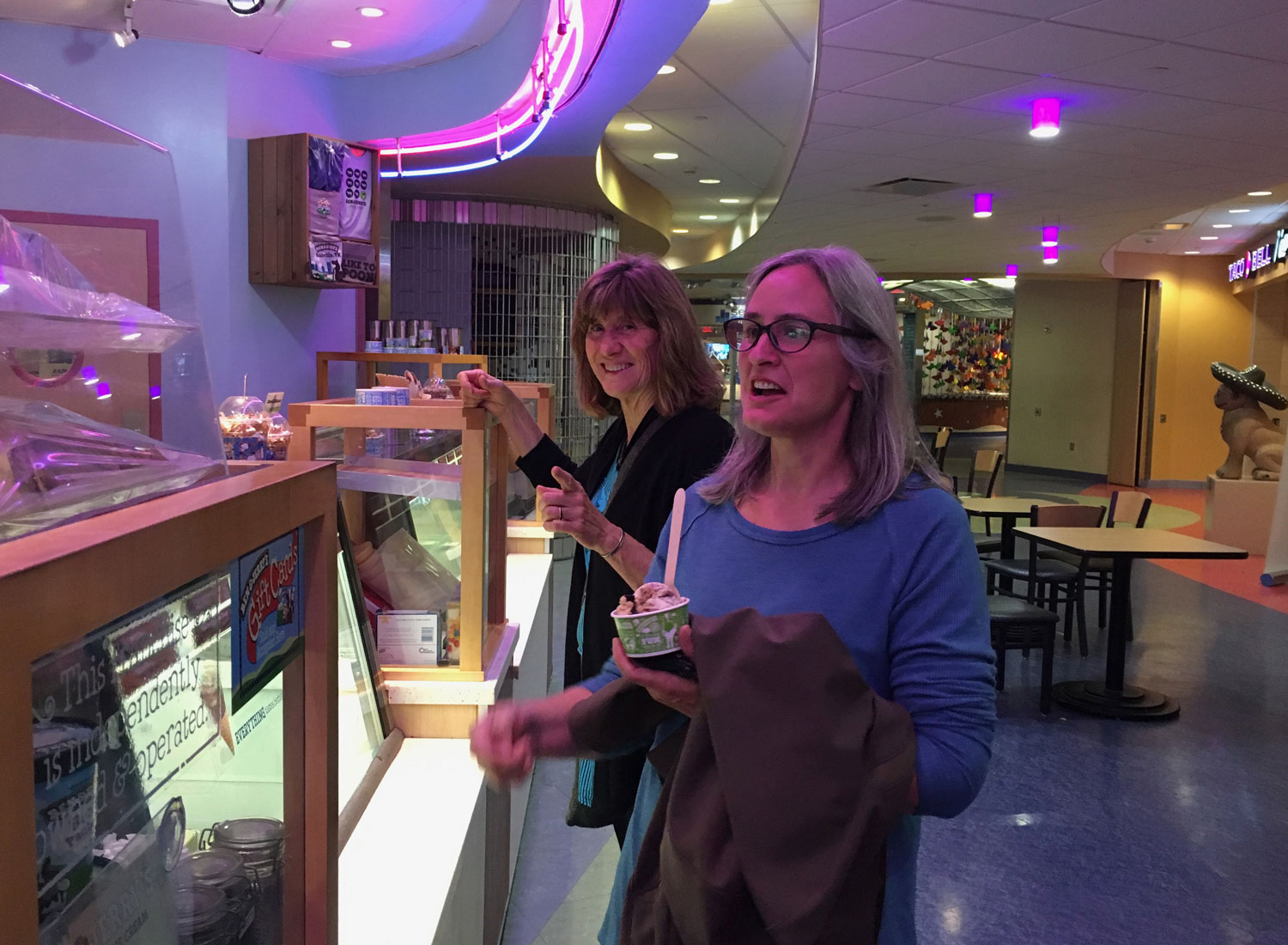 Rochelle and Karen at the Ben & Jerry's counter after dinner on our first night. We wandered the streets to find the food court of the Vanderbilt Children's Hospital to find this counter!