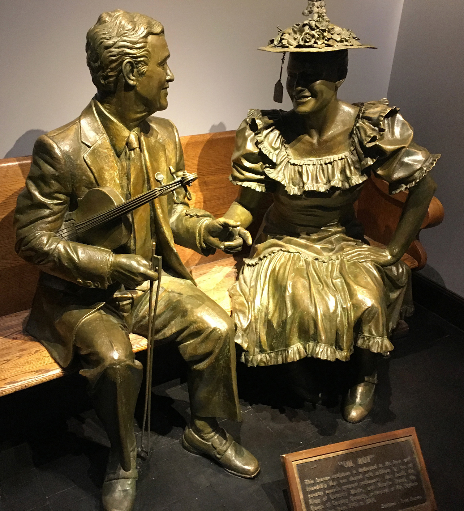Sculpture of Roy Acuff and Minnie Pearl in the lobby of the Ryman. Our friend and colleague Sherri Warner Hunter was involved in the creation of this work.
