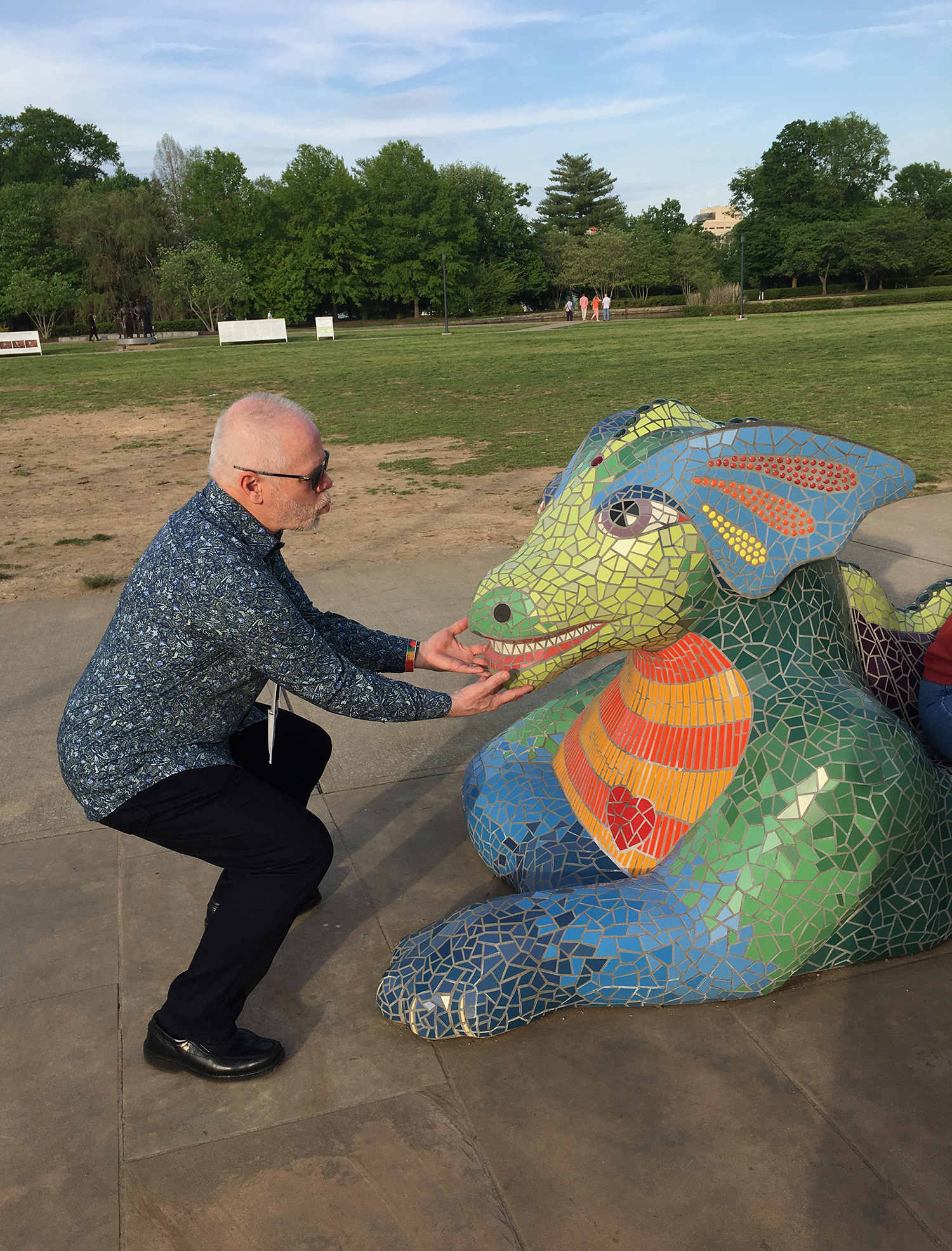 Outside of the Parthenon, for the duration of our conference, is  Lizzie the Dragon, by Sherri Warner Hunter. She normally lives at Vanderbilt Children's Hospital, but for the conference, she greeted us! And Scott had to ham it up…