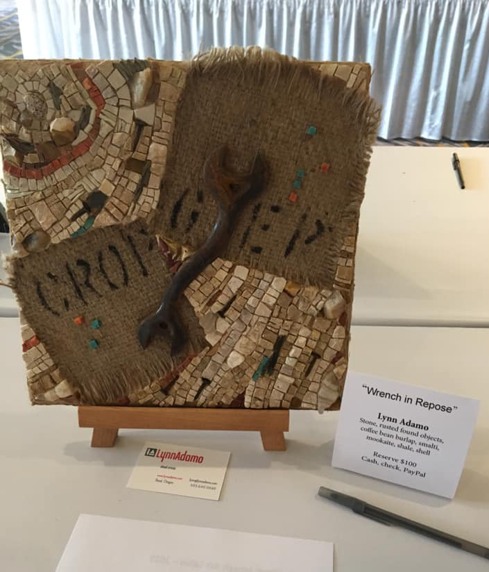 "Here's my ""Wrench in Repose"" at the mosaic art Salon, the silent auction on Friday at the conference."