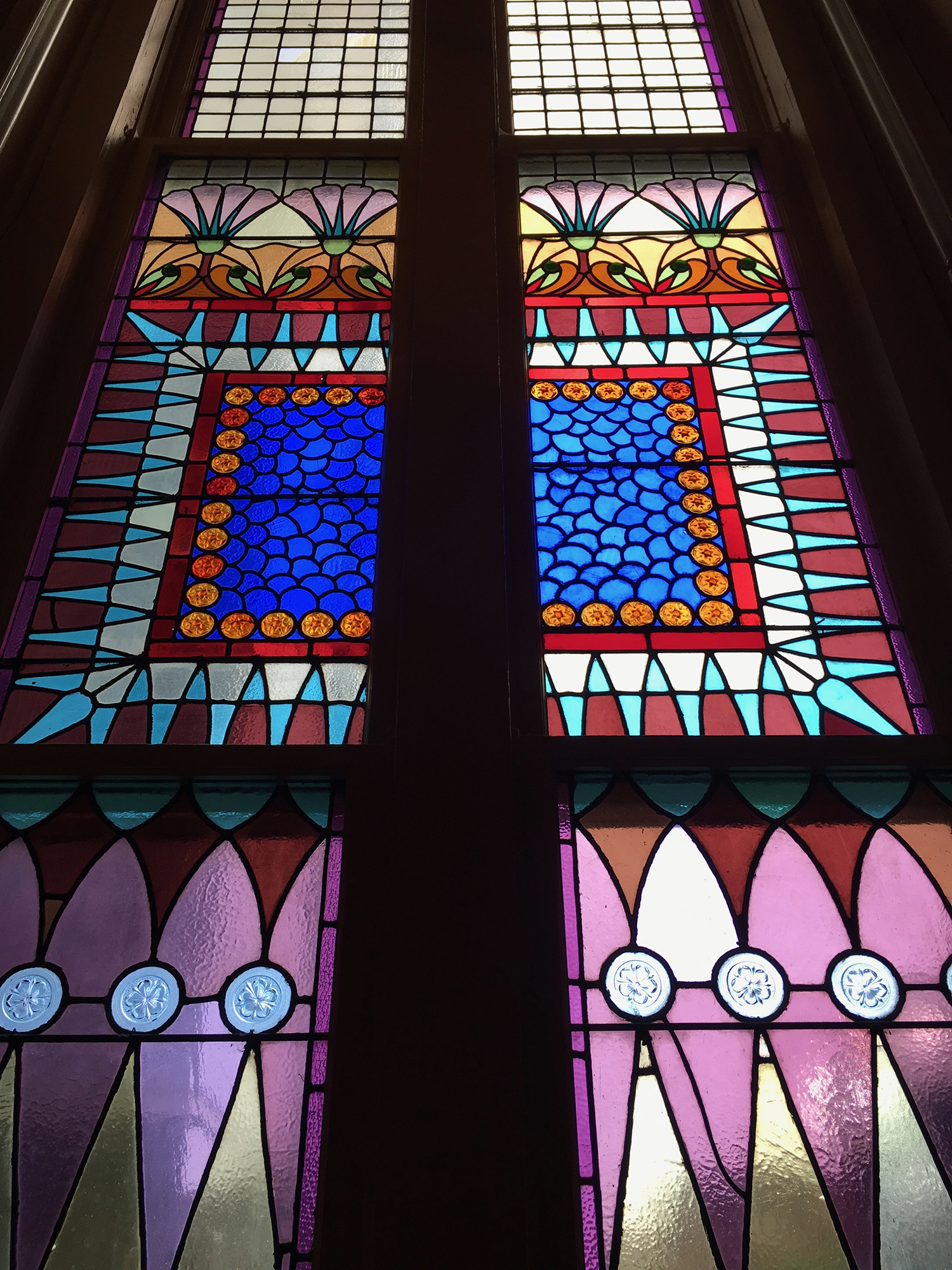 Stained glass windows in the beautiful Egyptian Revival downtown Presbyterian church.