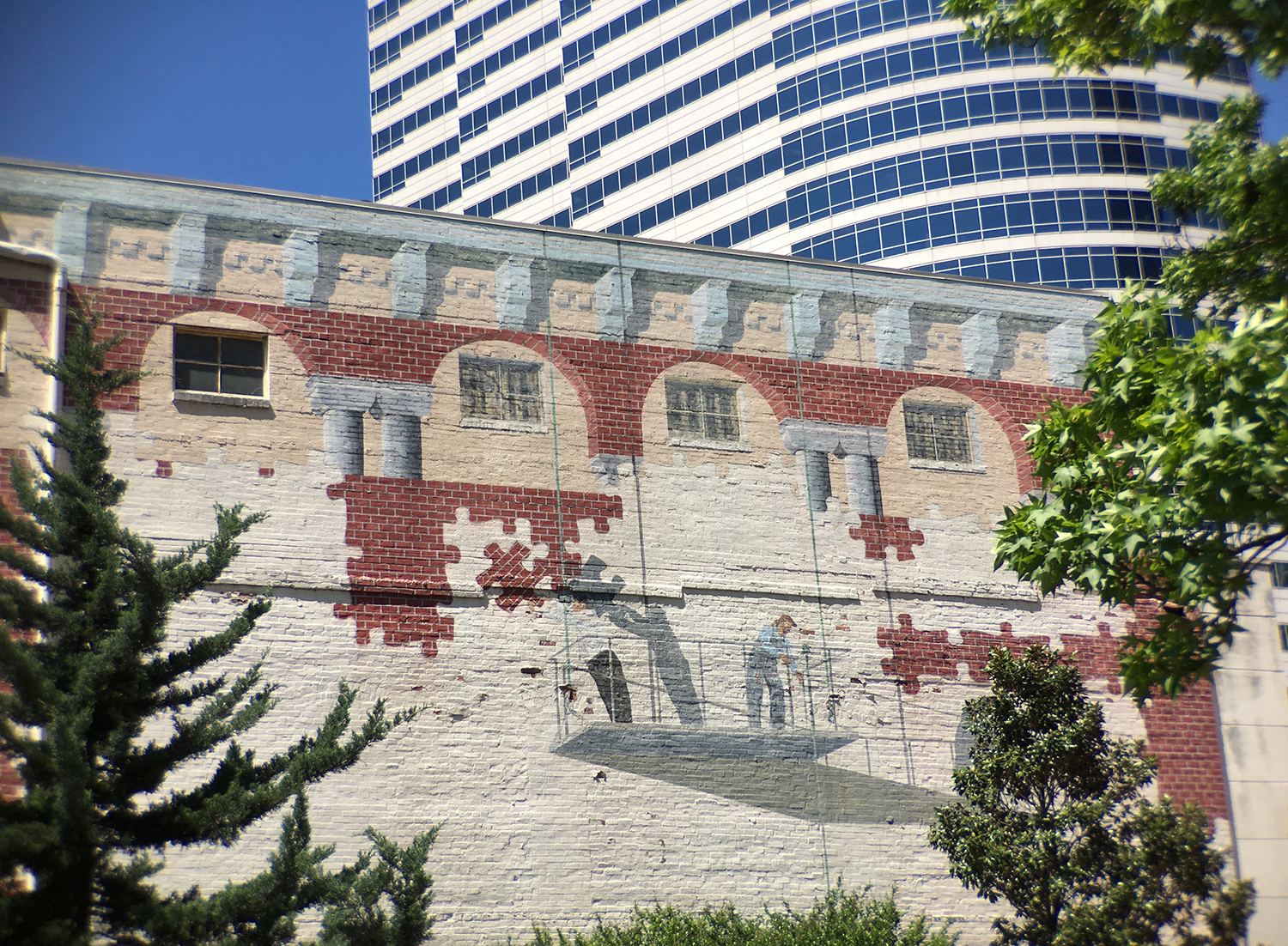 Across from the downtown public library, a trompe l'oeil mural. Those always grab my attention.